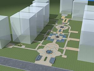 中庭景觀模型3d模型