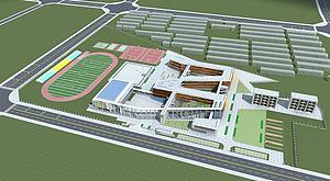 现代学校规划3d模型