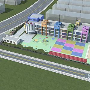 幼儿园鸟瞰模型