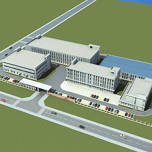 现代厂房办公楼模型