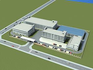 现代厂房办公楼3d模型