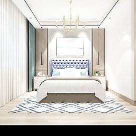 现代简约卧室模型