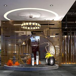 中式餐廳餐館吧臺模型3d模型