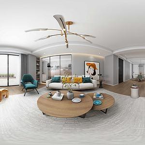 3d现代北欧客厅模型