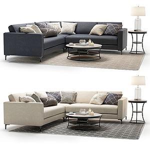 多人沙发转角沙发茶几组合模型