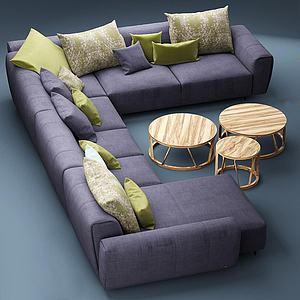 现代多人沙发茶几模型