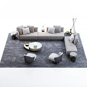 现代多人转角沙发茶几组合模型