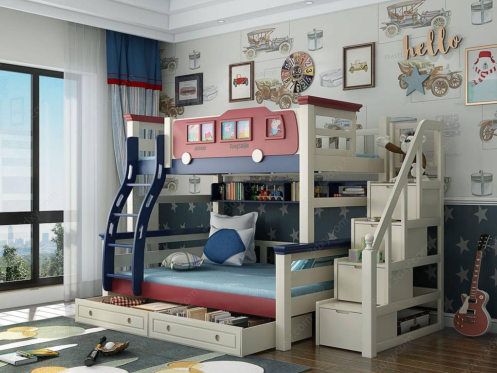 地中海风格儿童高低床
