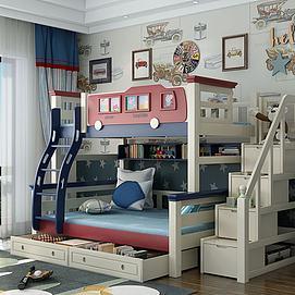地中海风格儿童高低床模型