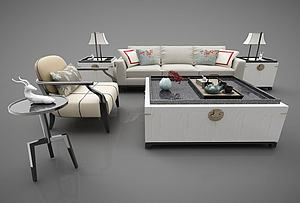 新中式风格沙发组合模型3d模型