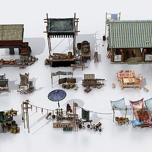 中式古建售杂货摊位模型