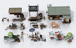 中式古建售杂货摊位模型3d模型