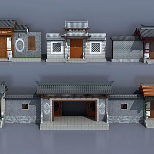 中式古建庭院大门入口模型