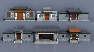 3d中式古建庭院大门入口模型
