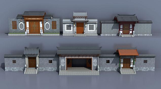 中式古建庭院大门入口3d模型