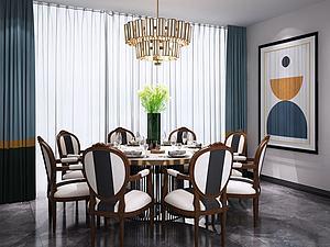 新中式圆形餐桌椅吊灯组合3d模型
