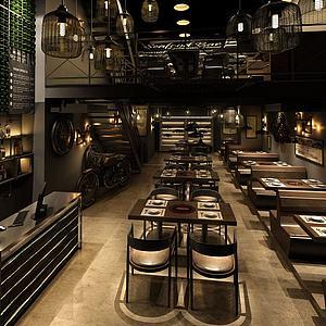 3d工业风餐厅模型
