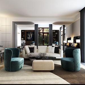 现代风格的组合沙发模型