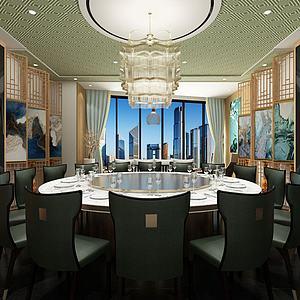 新中式餐厅包间3d模型