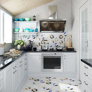 北歐風格廚房廚柜廚房用品3d模型