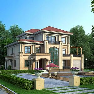 简欧独栋别墅建筑模型