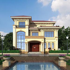 简欧别墅建筑模型