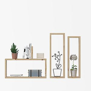 木框书架装饰架模型