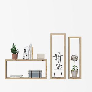 木框书架装饰架3d模型
