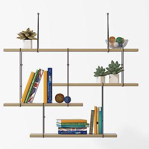简约木制书架绿植架置物架模型