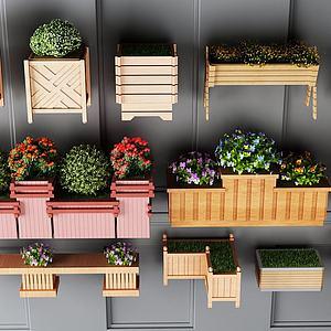 花箱实木花箱模型