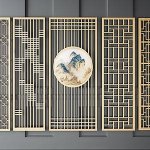 中式隔断实木镂空隔断模型