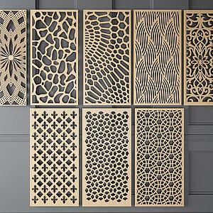 隔断中式实木镂空屏风模型