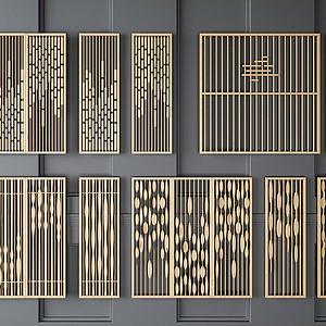实木镂空隔断屏风模型