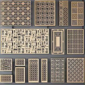 实木镂空隔断模型