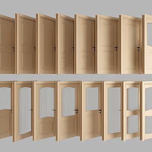 现代木质门组合模型