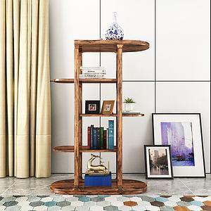 创意实木书架模型