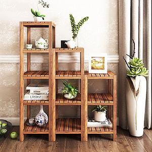 实木装饰架盆栽摆件组合模型
