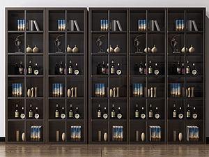 现代酒柜置物架组合3d模型