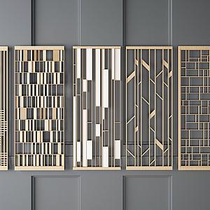 实木隔断模型