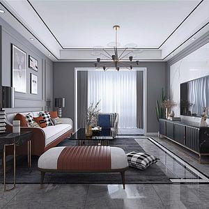 3d现代北欧轻奢客厅模型