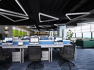 现代工业风办公空间3d模型