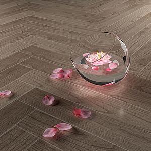 现代花瓣装饰水杯模型