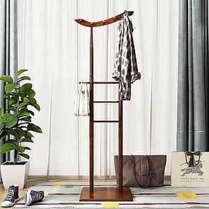 现代实木衣架模型