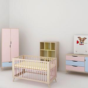 可爱婴儿床柜模型