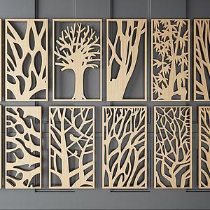 中式实木隔断模型