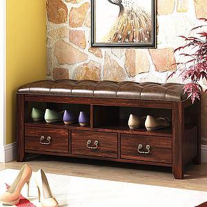美式鞋凳饰品模型