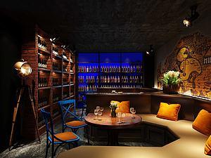 3d現代酒吧模型