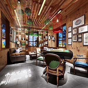 现代客厅麻将室模型3d模型