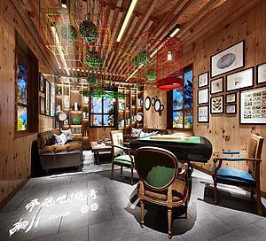 现代客厅麻将室3d模型