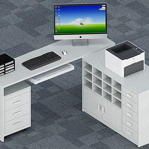 现代办公桌工位3d模型